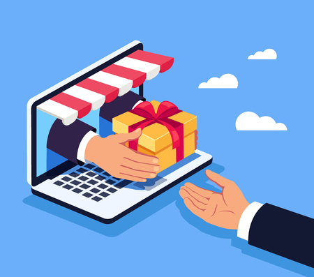 Manager hand giving gift box Online shopping concept. Vector flat cartoon graphic design isolated illustration
