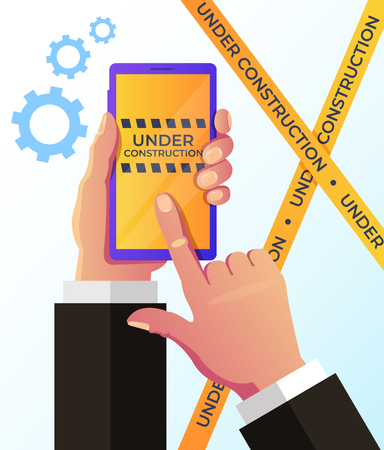 Broken web page on smartphone screen device. Under construction banner concept. Vector flat cartoon graphic design isolated illustration Illustration