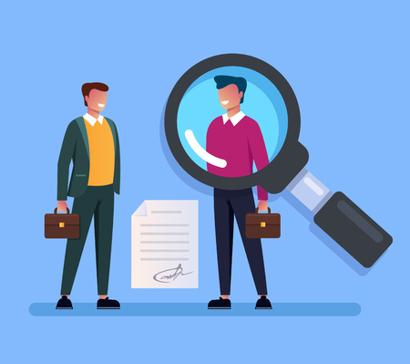 Businessman boss searching job candidate man character. Head hunting hr human resources concept. Vector flat cartoon graphic design isolated illustration