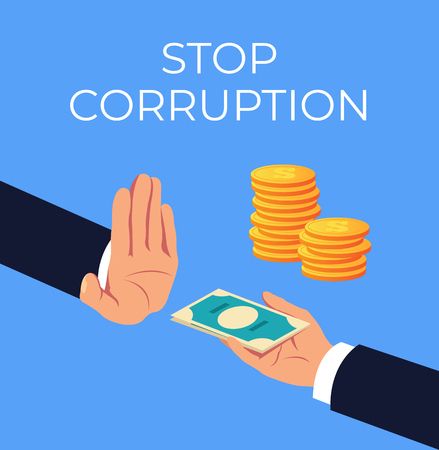 Crime hand offer giving dirty illegal money. Stop corruption concept. Vector flat cartoon graphic design isolated illustration Stock Vector - 113800641