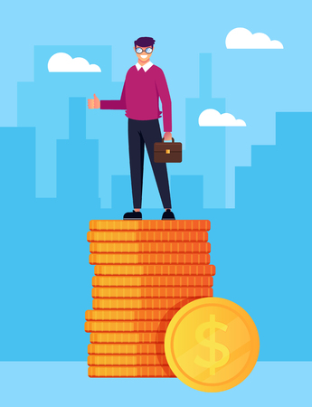 Happy smiling businessman office worker Good salary business career success. Vector flat cartoon design graphic isolated illustration