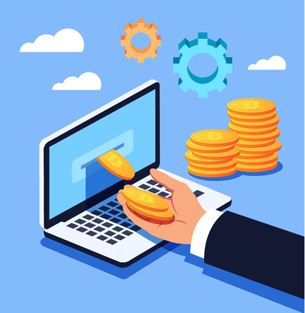 Mining bitcoin. Man hand taking bitcoin money crypto currency from laptop. Vector flat cartoon design graphic isolated illustration
