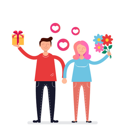 Happy smiling Dating relationship lovers concept. Vector flat cartoon design graphic isolated illustration Illustration