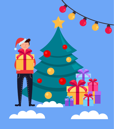 Happy smiling man character standing near Christmas tree and holding gift box. Happy New Year concept. Vector flat cartoon design graphic isolated illustration Illustration