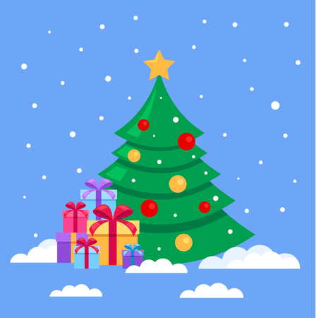 Christmas gift boxes with lots of colorful gift boxes. Happy New Year concept. Vector flat cartoon design graphic isolated illustration