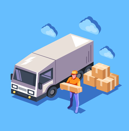 Character box holding box Delivery logistic shipment concept. Vector flat cartoon graphic design isolated isometric illustration