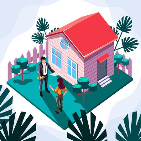 Caractère de femme locataire Concept de vente au détail de maison. Illustration isométrique isolée de conception graphique de dessin animé plat de vecteur Vecteurs