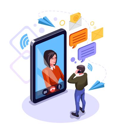 Personaggio di due persone uomo e donna che parla con uno smartphone. Concetto di messaggio di posta elettronica di comunicazione online. Videochiamata in chat. Illustrazione isolata del fumetto di progettazione grafica piana di vettore Vettoriali