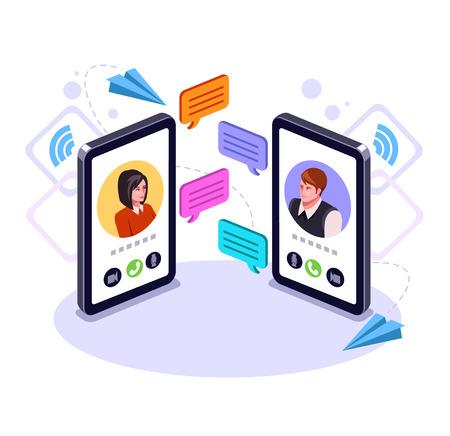 Carácter de hombre y mujer de dos personas hablando con un teléfono inteligente. Concepto de mensaje de correo electrónico de comunicación en línea. Chat de negocios de videollamadas. Ilustración aislada de dibujos animados de diseño gráfico plano de vector