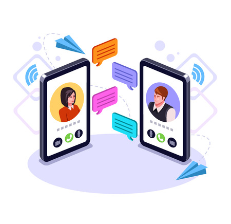 Two people man and woman character talking to a smart phone. Online communication email message concept. Video call business chat. Vector flat graphic design cartoon isolated illustration Vectores