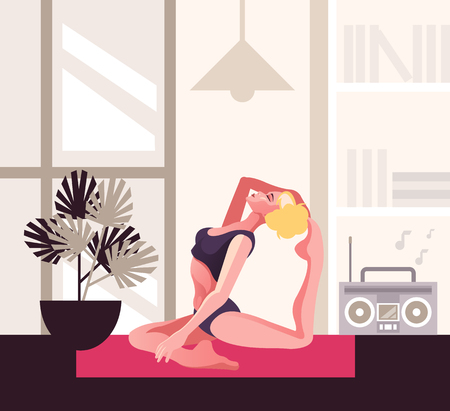 Young fit slim woman character doing yoga. Home exercises concept. Vector flat graphic design cartoon isolated illustration