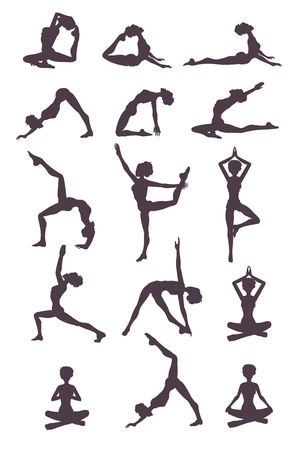 Young fit slim woman character doing yoga different position. Home exercises concept. Vector flat graphic design cartoon isolated illustration set Illustration