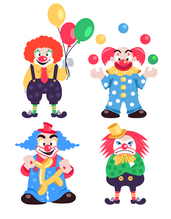 Funny different colorful clowns characters collections. Vector flat cartoon character isolated illustration set Çizim