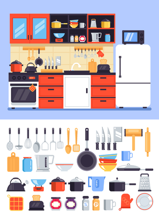 Kitchen decorative apartment interior furniture house room icon set. Cuisine with tools accessory concept. Vector flat cartoon graphic design isolated illustration Vetores