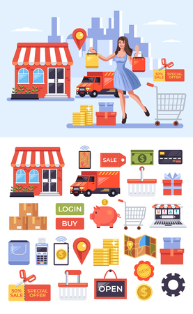 Happy smiling female consumer character making purchasing by internet shop. Online digital shopping delivery icon set. Vector flat design graphic isolated illustration concept