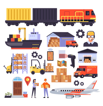Delivery logistic distribution carrying stacking loading industry business service concept. Vector design graphic isolated flat icon illustration set Vettoriali