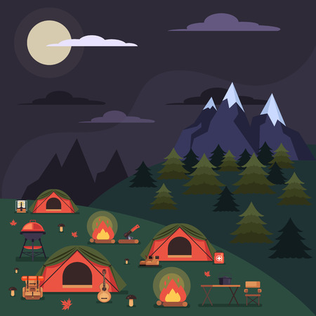Tourists people sleeping in tents. Camping tourism traveling hiking concept. Vector flat cartoon graphic design illustration concept 版權商用圖片 - 119101849