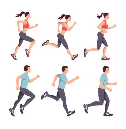 Los personajes del hombre y la mujer de la gente del deporte corren. Ejecución de pasos de etapa maratón concepto de estilo de vida saludable. Conjunto de ilustración aislada de diseño gráfico plano vectorial