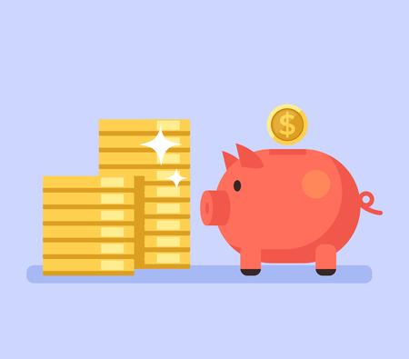 Tirelire avec de l'argent. Concept de prêt commercial d'économie d'épargne bancaire. Illustration vectorielle design graphique plat isolé Vecteurs