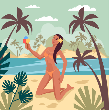 Happy woman sexy woman character sunbathing and relax on sandy beach island seaside. Travel vacation summer time banner poster concept. Vector flat graphic design isolated illustration