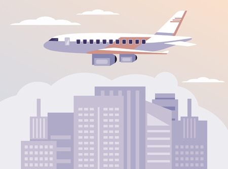 Airplane flying above city town buildings. Traveling tourism vacation concept. Vector flat cartoon graphic design banner poster