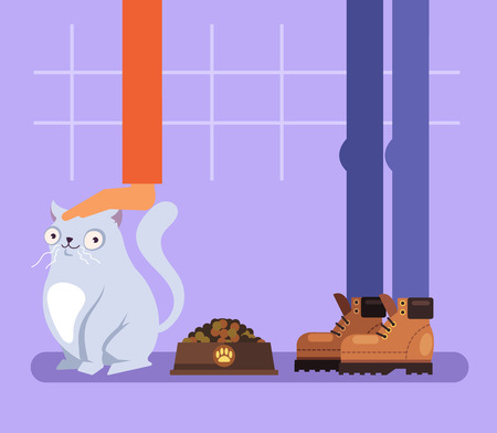 Happy funny cat character sitting near bowl full of food. Owner feeding his pet. Pets animal training isolated illustration graphic design flat concept Standard-Bild - 119101875