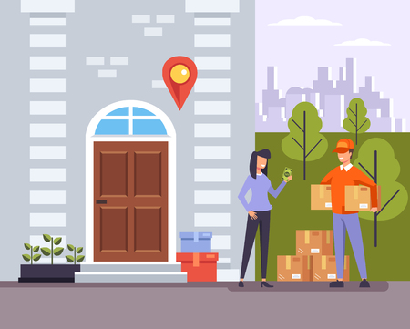 Man wearing uniform parlor box Delivery to door home house apartment concept. Vector flat graphic design illustration banner Vectores