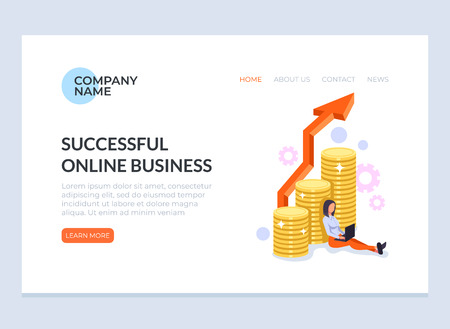 Freelancer worker woman character sitting and working at laptop online by internet. Distant successful freelance business concept. Vector flat cartoon graphic design banner poster web page illustration Illustration