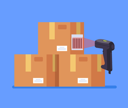 Barcode scanner scanning box label information data. Cargo delivery sale concept. Vector flat cartoon graphic design isolated icon illustration 向量圖像