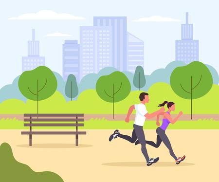 Zwei sportliche Fit-Leute Sportaktivität Lifestyle. Vector flaches Karikaturgrafikdesign lokalisierte Ikonenillustration Vektorgrafik