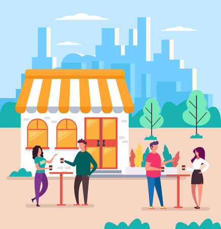 People having coffee break time. Vector flat design graphic cartoon isolated illustration
