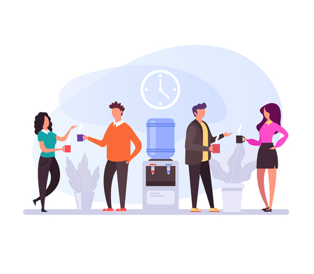 Coffee breaks lunch time Office life concept. Vector flat design graphic cartoon isolated illustration