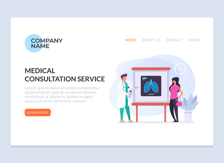 Doctor character giving consultation woman patient. Health care banner poster loading web page graphic design concept illustration