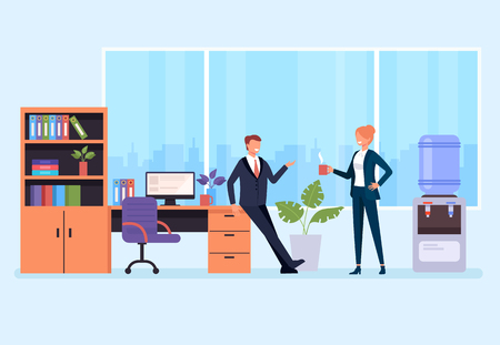Two office workers drinking coffee and talking. Office life situation. Vector flat graphic design cartoon isolated illustration