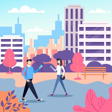 Dispositivo di persone che camminano su strada parco e dispositivo di comunicazione. Concetto di comunicazione online. Illustrazione isolata del fumetto di progettazione grafica piana di vettore