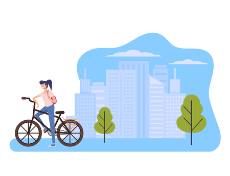 Sport woman character riding bicycle in green public park. Healthy lifestyle concept. Vector flat graphic design cartoon isolated illustration