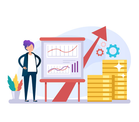 Business woman office worker character perform business plan ides. Successful business concept. Vector flat graphic design cartoon isolated illustration