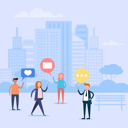 Grupo de personas comunicación de carácter por teléfono inteligente. Concepto de discusión de internet web en línea. Ilustración aislada de dibujos animados planos gráficos de diseño vectorial