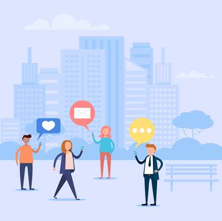 Group of people character communication by smartphone. Online web internet discussion concept. Vector design graphic flat cartoon isolated illustration Illustration