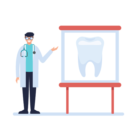 Dentist doctor character describing tooth banner. Medicine concept. Vector design graphic flat cartoon isolated illustration