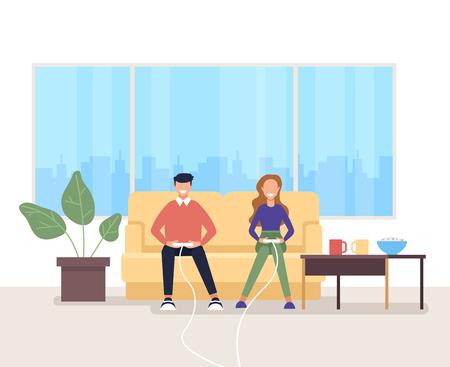 Jugando en casa. Ilustración aislada de dibujos animados planos gráficos de diseño vectorial
