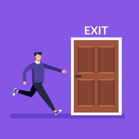 Man character running fast to door exit. Vector design graphic flat cartoon isolated illustration