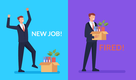 Encuentra un nuevo trabajo y lo pierdes. Concepto de ser contratado y despedido. Ilustración aislada de dibujos animados planos gráficos de diseño vectorial
