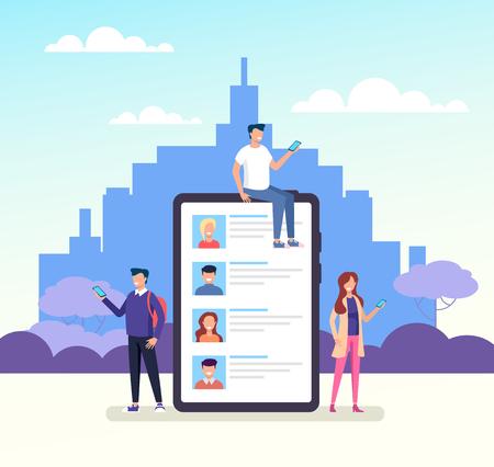 Smart phone. Online communication dialog social network media concept. Vector design graphic flat cartoon isolated illustration