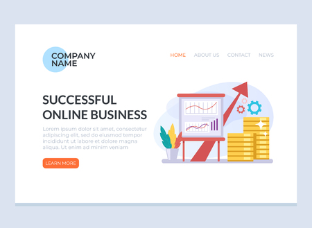 Successful business strategy banner concept. Vector design graphic flat cartoon web page loading banner illustration