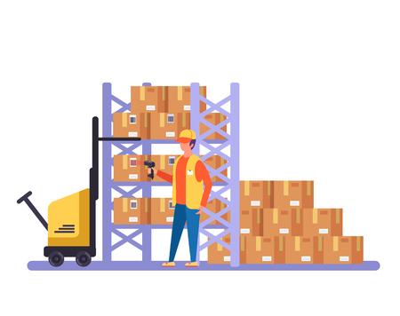 Carácter de trabajador de almacén escaneo de cajas de cartón de código de barras. Ilustración aislada de dibujos animados planos gráficos de diseño vectorial