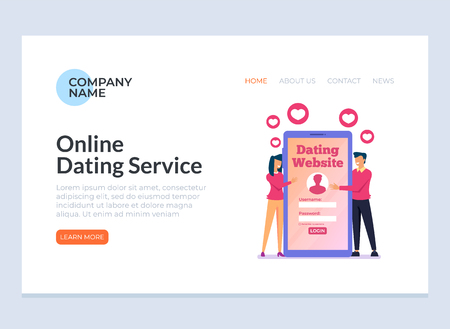 Online dating meeting online banner. Vector design graphic flat cartoon isolated illustration