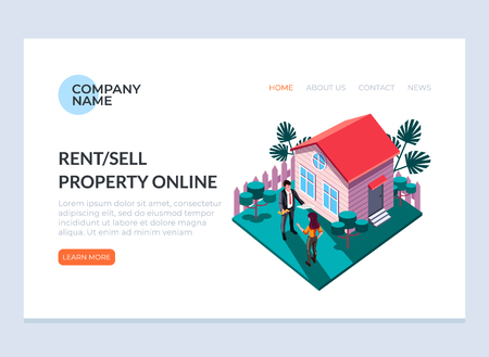 Real estate sell and rent property house concept. Vector design graphic flat cartoon web page loading banner illustration