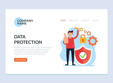 Network security data protection concept. Vector graphic design web loading page banner page illustration Иллюстрация