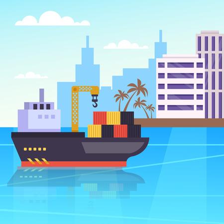 Großes Containerfrachtschiff im Seehafenhafen. Globale Frachtschifffahrtsindustrie. Vektordesign grafische flache Karikatur lokalisierte Illustration
